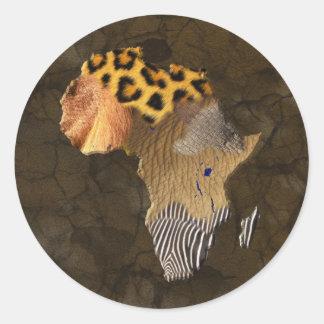 野生動物はアフリカのステッカーの地図を織ります ラウンドシール