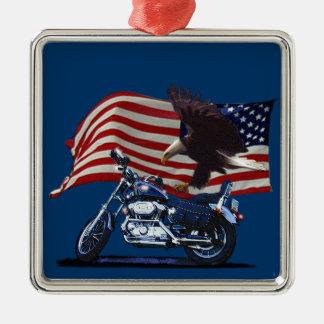 野生及び自由愛国心が強いワシ、モーターバイク及び米国の旗 メタルオーナメント