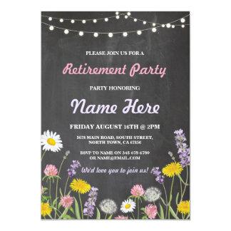 野生花のチョークの退職パーティーの退職したな招待 12.7 X 17.8 インビテーションカード