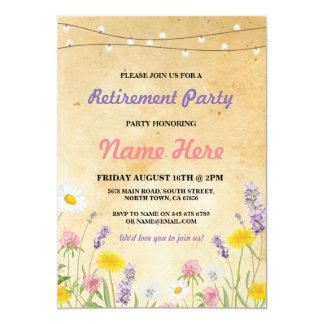 野生花のヴィンテージの退職の退職したな招待 カード