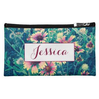 野生花の名前入りなモノグラムの化粧のバッグ コスメティックバッグ