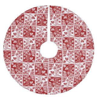 野生花の赤と白の正方形のブロック ブラッシュドポリエステルツリースカート