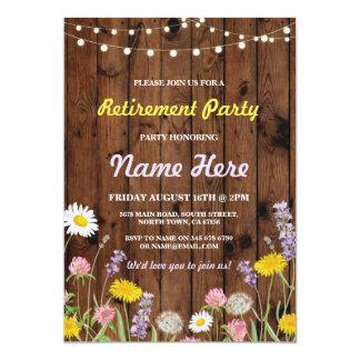 野生花の退職パーティーの退職したな招待 カード