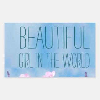野生花世界の最も美しい女の子 長方形シール