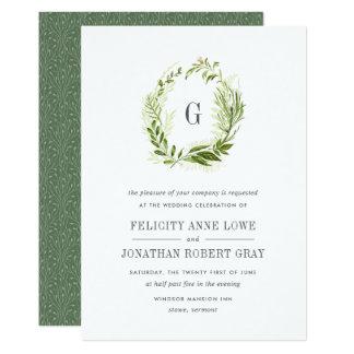 野生草原のモノグラムの結婚式招待状 12.7 X 17.8 インビテーションカード