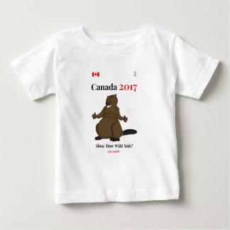 野生2017ビーバーのカナダ150 ベビーTシャツ