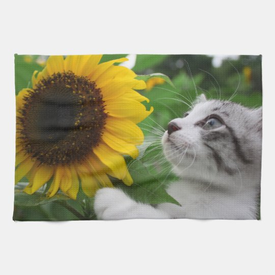 野良猫ニャン吉【ひまわり】 キッチンタオル