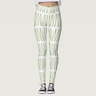 野草白いオリーブ色デザイナーファッションのレギンス レギンス