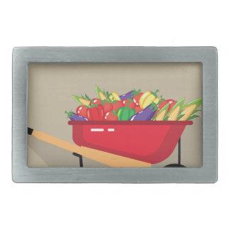 野菜で満ちている一輪車 長方形ベルトバックル