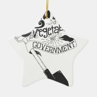 野菜のない政府を育てて下さい 陶器製星型オーナメント
