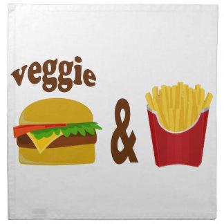 野菜のハンバーガーおよび揚げ物 ナプキンクロス