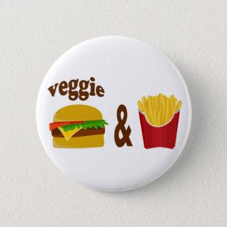 野菜のハンバーガーおよび揚げ物 缶バッジ