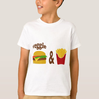 野菜のハンバーガーおよび揚げ物 Tシャツ