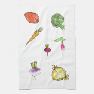 野菜の水彩画のアーティチョークのタマネギのKitcheの芸術 キッチンタオル