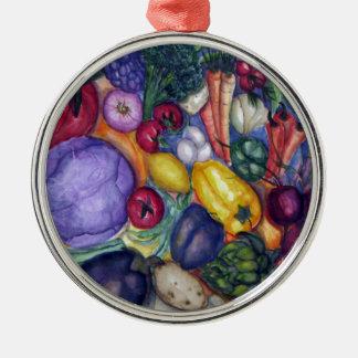 野菜の野菜水彩画の芸術 メタルオーナメント