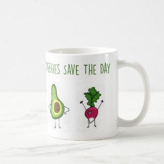 野菜は日のアボカドおよびラディッシュのマグを救います コーヒーマグカップ