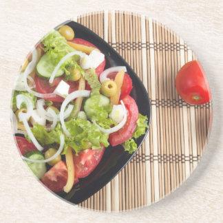 野菜サラダの1部分の空中写真 コースター
