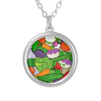 野菜パターン シルバープレートネックレス