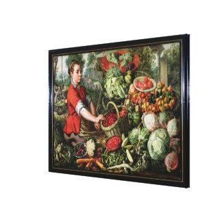 野菜販売人 キャンバスプリント
