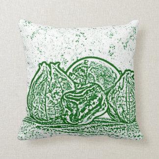 野菜静物画の緑および白 クッション