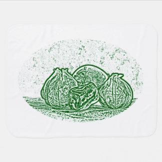野菜静物画の緑および白 ベビー ブランケット