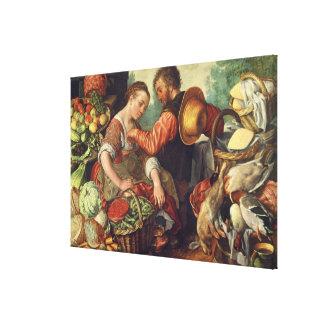 野菜1567年を販売している女性(キャンバスの油) キャンバスプリント