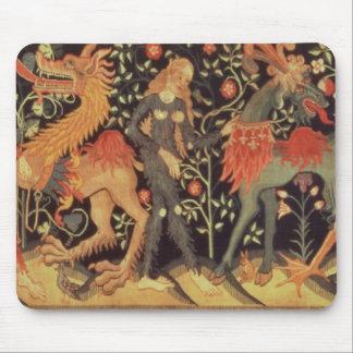 野蛮人および動物のタペストリー、15世紀 マウスパッド