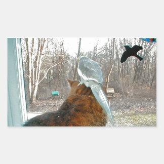 野鳥観察 長方形シール