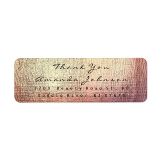 金きらめくピンクのブラシの打撃は感謝していしています 返信用宛名ラベル