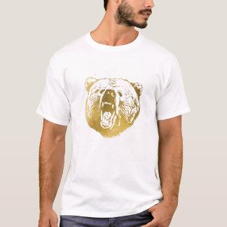 金くまの人のワイシャツ、白および金ゴールド Tシャツ