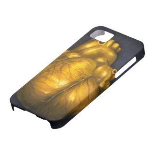 金のiPhone 5の保護場合のハート iPhone SE/5/5s ケース