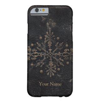 金ぱくのアヤメのアンティークの革 BARELY THERE iPhone 6 ケース
