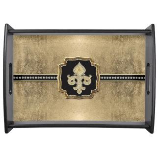金ぱくの一見の(紋章の)フラ・ダ・リの模造のなヴィンテージの宝石 トレー