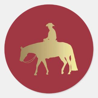金またはボルドーの喜びの馬 ラウンドシール
