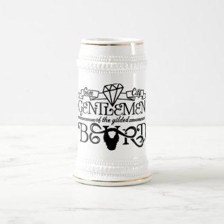 金めっきされたひげの黒のロゴ-ステイン ビールジョッキ