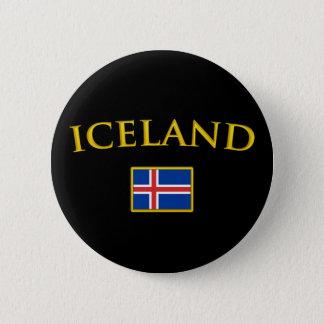 金アイスランド 5.7CM 丸型バッジ