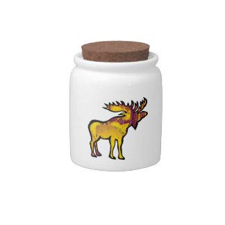 金アメリカヘラジカ 陶器製キャンディジャー