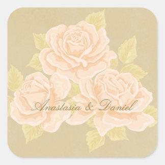 金アヤメを持つヴィンテージのピンクのロマンチックなバラ スクエアシール