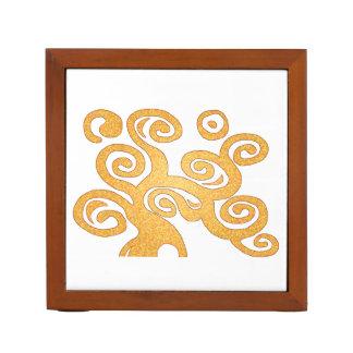 金アールヌーボーのスタイルの木 ペンスタンド