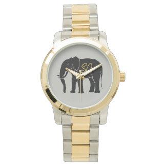 金イニシャルが付いている黒人のアフリカ人象の銀 腕時計