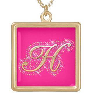 金イニシャルH -かわいいネックレス ゴールドプレートネックレス