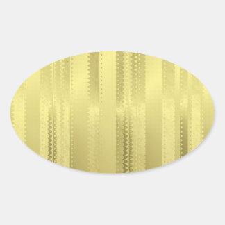 金クリスマスのリボンはホイルの紙で縞で飾ります 楕円形シール