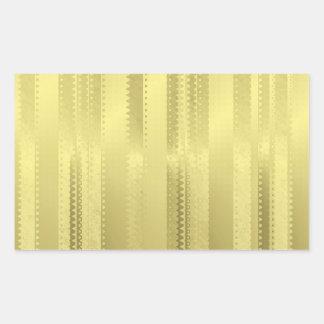 金クリスマスのリボンはホイルの紙で縞で飾ります 長方形シール