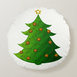 金クリスマスツリー ラウンドクッション