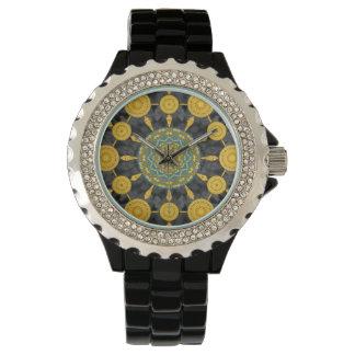 金ケシの曼荼羅の配列の腕時計 腕時計