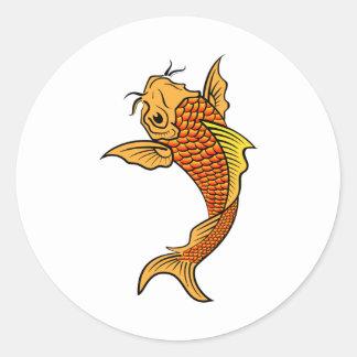 金コイの魚 ラウンドシール