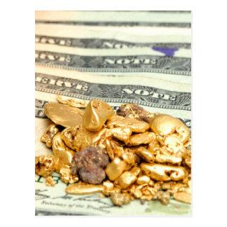 金ゴールドおよびお金 ポストカード