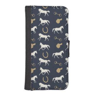 金ゴールドおよびアイボリーの英国の馬パターン iPhoneSE/5/5sウォレットケース