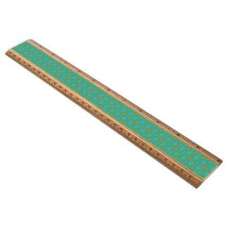 金ゴールドおよびターコイズの花のダマスク織のスタイルパターン 定規