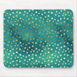 金ゴールドおよびティール(緑がかった色)の点のモダンで魅力的な水彩画のマウスパッド マウスパッド